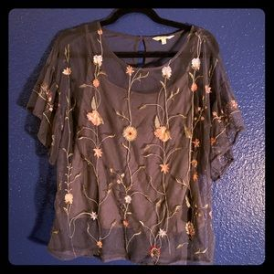 Blue grey sheer floral Lucky brand top